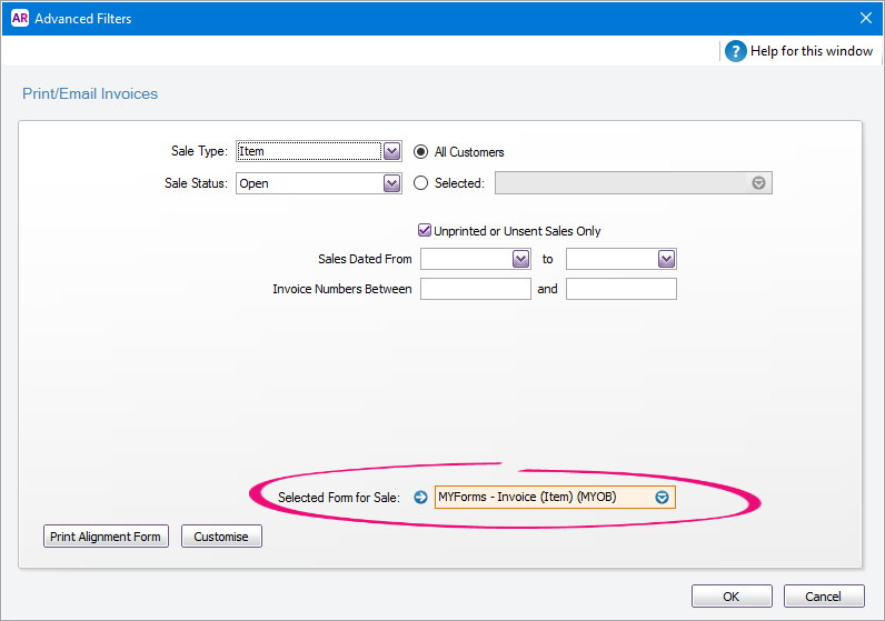 set the default forms to use when emailing or printing - myob, Invoice templates
