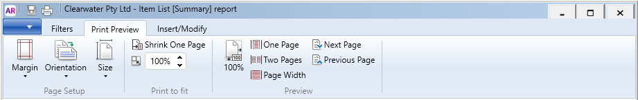 report print preview tab