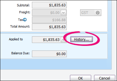 AccountRight History button