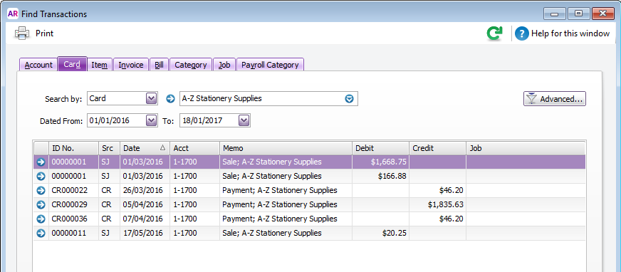 Find transactions window with card transactions listed