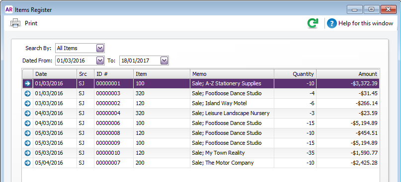 Items register window with transactions listed