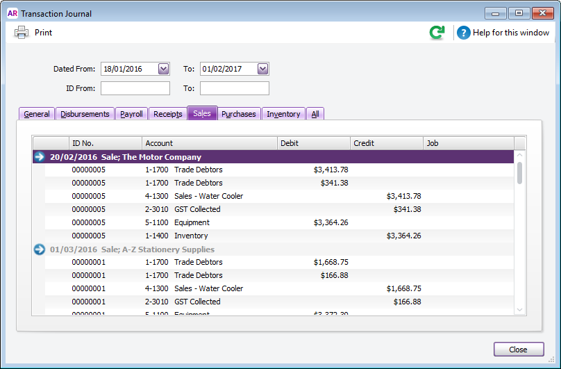 Transaction journal window with transactions listed
