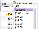 Choose the Custom option in the right-click menu to open the Custom Filter