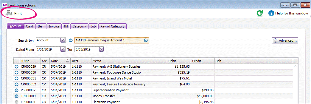Printing from the Find Transactions window