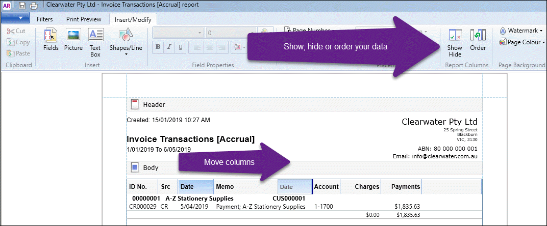 Printing a transaction window