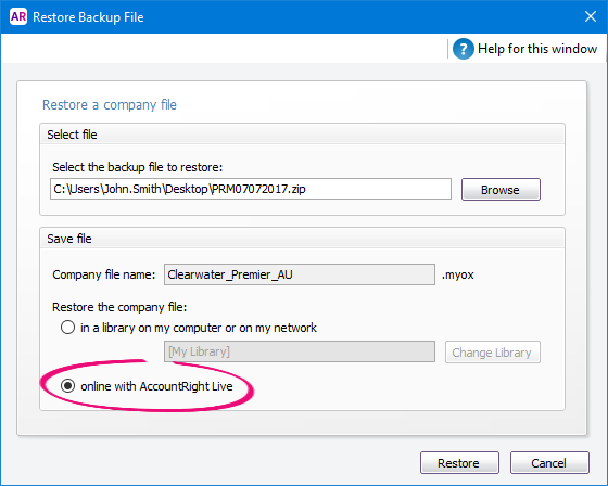 Restore backup file window with online option selected