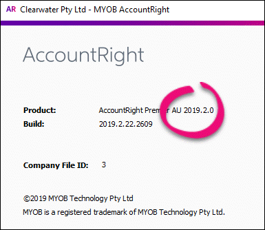 About AccountRight window 2019.2