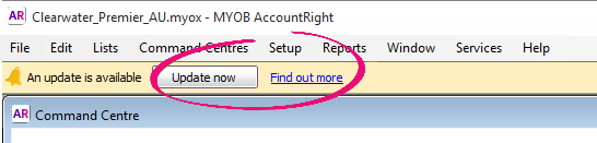 Update now button in AccountRight