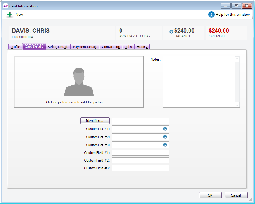 Card Information window with customisation fields