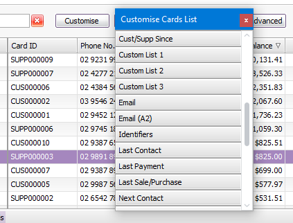 The Customise Cards List panel shows which columns can be added to the Cards List window.