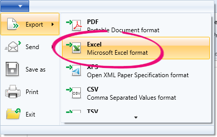 Export to excel option highlighted