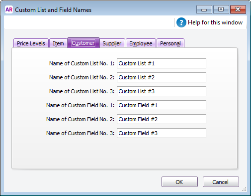 Custom List and Field Names window