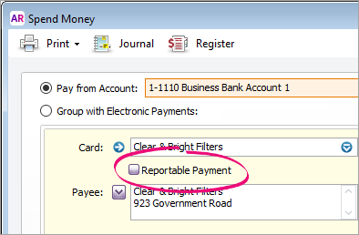 Spend money window with reportable payment option highlighted