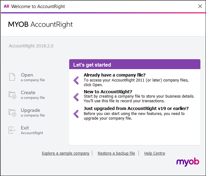 AccountRight Welcome window