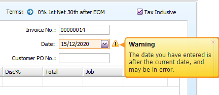 Date field with date warning displayed