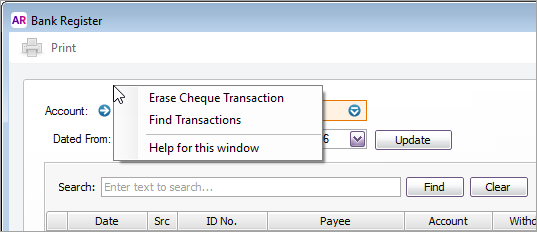 Right-click options on the bank register window