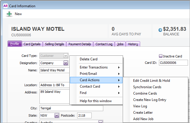 Right-click options on the card information window
