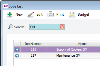 Jobs list window with GM in search field