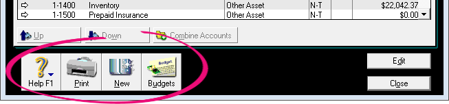 Buttons along the bottom of the window in AccountRight v19