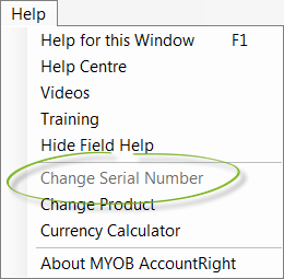 Change Serial Number function greyed out