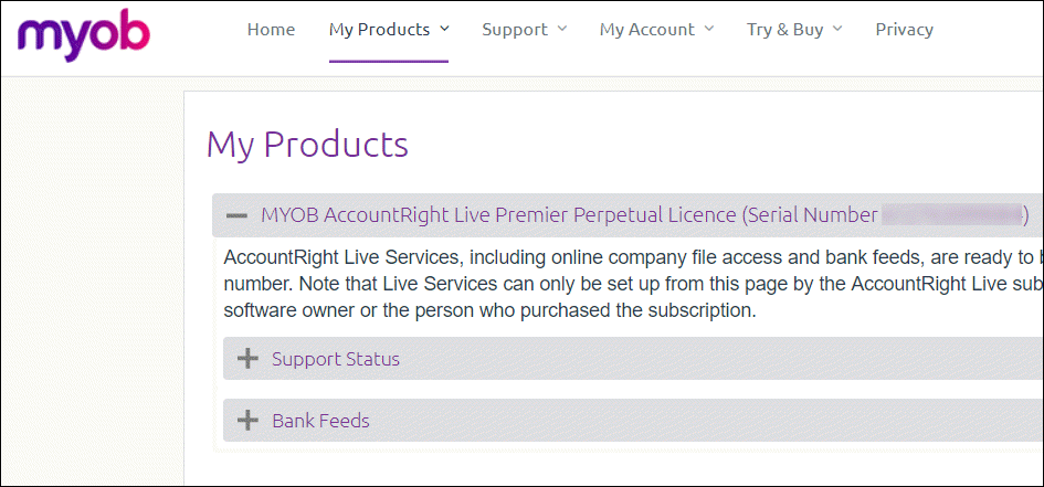 my.myob My Products showing serial number