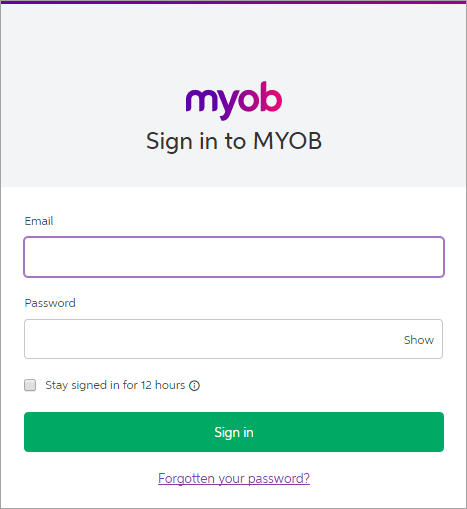 Sign in to MYOB window with email and password fields