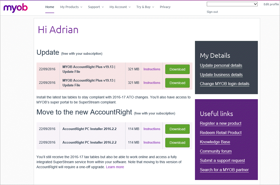 my.myob home page with downloads displayed