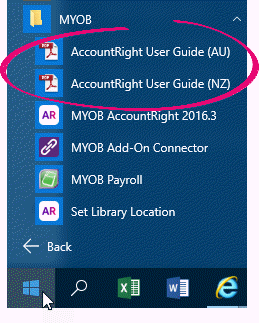Windows Start menu with AccountRight user guides highlighted