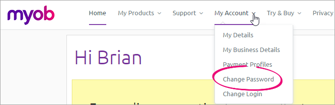 my account menu in my.myob with change password highlighted