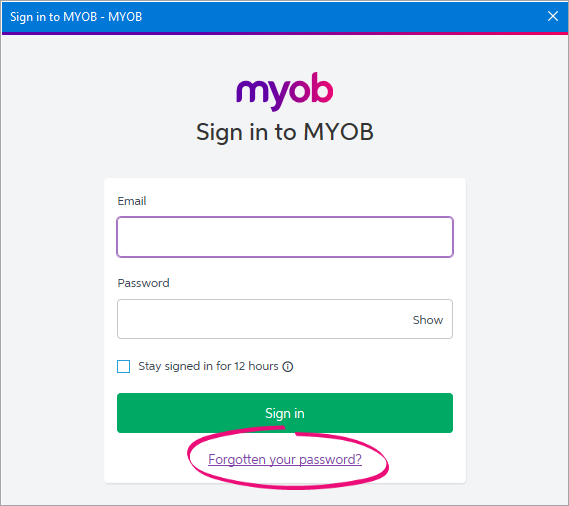 Sign in to MYOB window with forgotten your password link highlighted