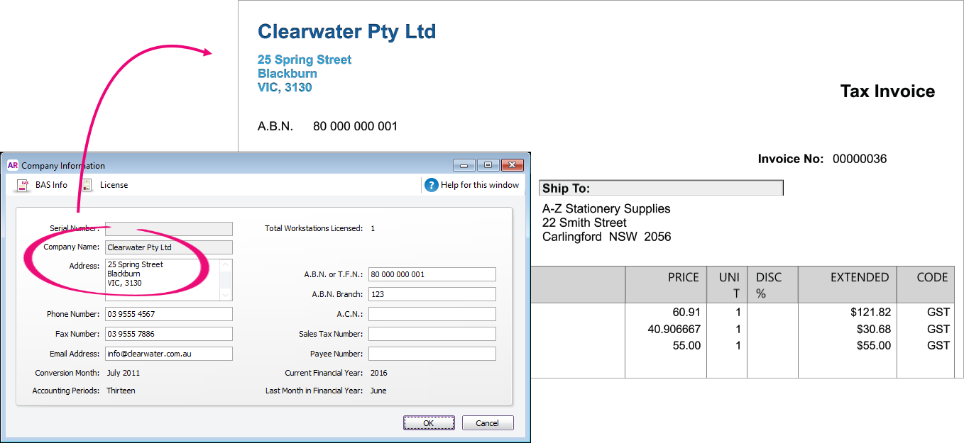 Company details highlighted in company information window and shown on an invoice