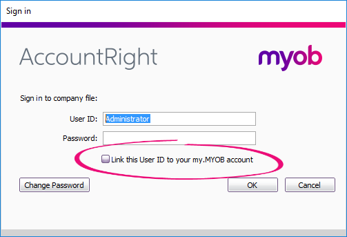 Sign in to AccountRight