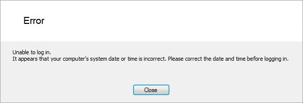 example unable to log in error