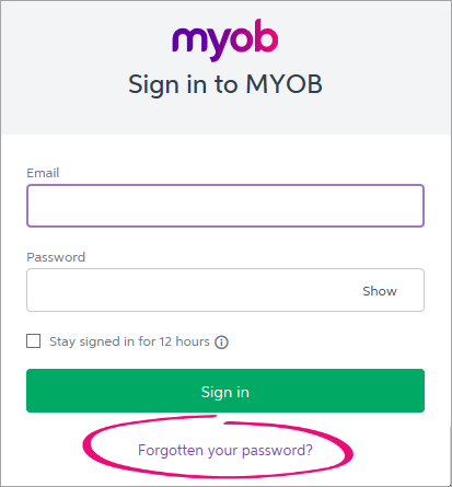 MYOB sign in window with fogotten your password highlighted