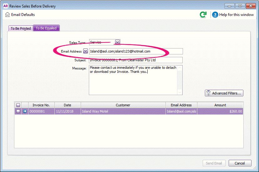 Sending emails - MYOB AccountRight - MYOB Help Centre