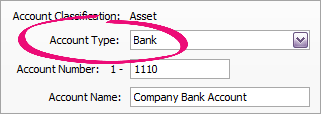 Account type set as bank