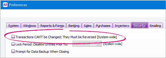Preferences window with option deselected
