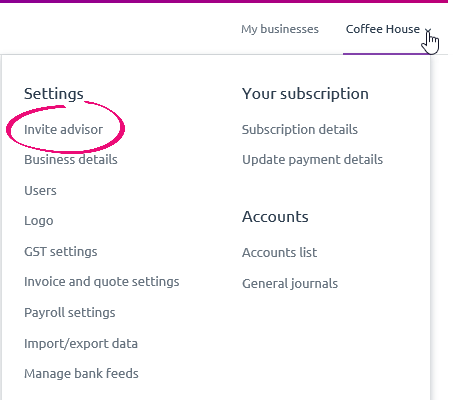 Settings menu with invite advisor highlighted