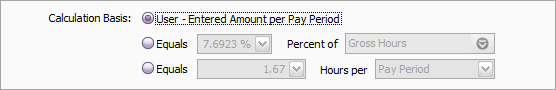 Calculation basis set to user entered per pay period