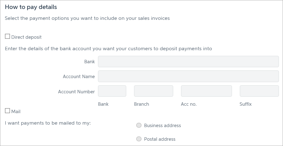 How to pay details with blank fields