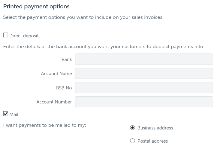 Printed payment options with mail option selected