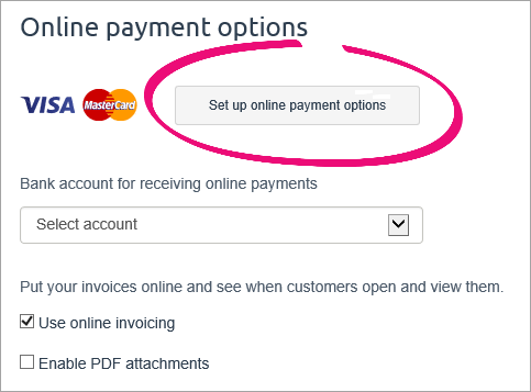 Online payment options with setup button highlighted