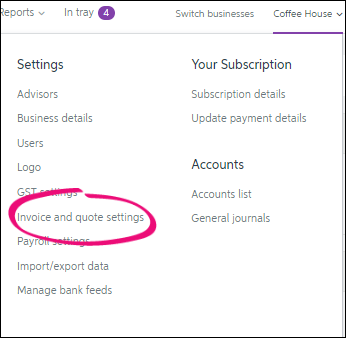 Essentials business name selected, invoice and quote settings