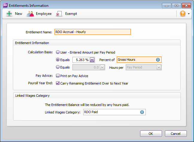 Example RDO entitlement category setup for hourly employees