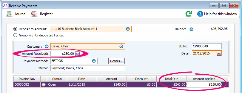 Receive payments window with amount received exceeding total due