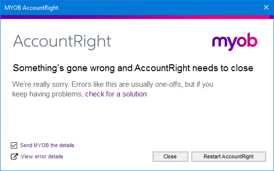 example AccountRight error