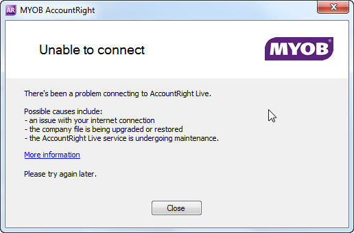Error: Connection error - MYOB AccountRight - MYOB Help Centre