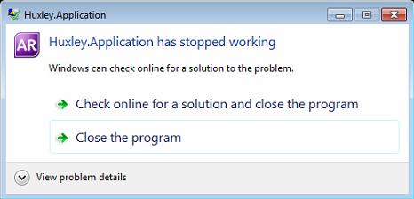 Error: Huxley Application has stopped working - MYOB AccountRight