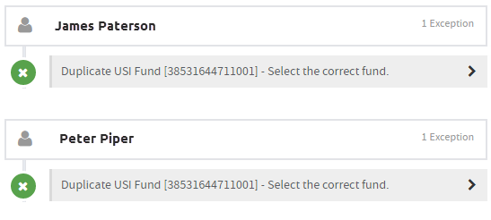 example exception showing duplicate USI fund