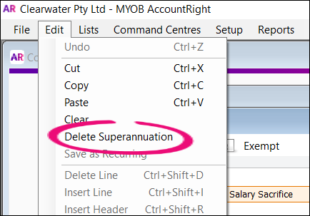 Delete super salary sacrifice payroll category